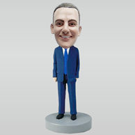 Personalized custom blue suit bobbleheads