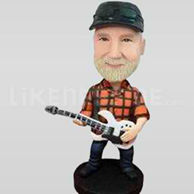 Male guitar plaid Bobble Head Doll-11087