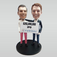Personalized custom work together bobbleheads