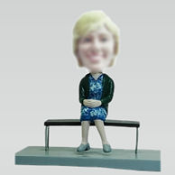 Custom Grandmother sitting on a bench bobbleheads