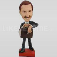 Bobble Head Doll Man in suit Briefcase, Late-11617