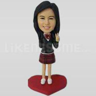 Custom Bobblehead Girl Peace Sign-11629