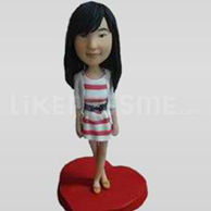 Custom Bobblehead Girl Stripe Shirt-11632