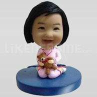Custom Bobblehead Little Girl Teddy Bear-11638