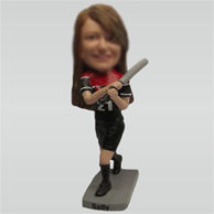 Custom female baseball bobble heads