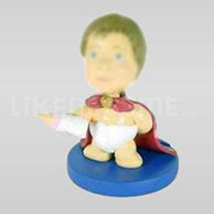 Novelty Superhero Baby Bobblehead with Bottle-11651
