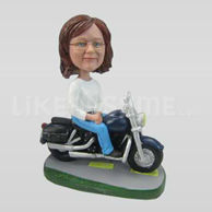 Personalized custom female bobbleheads with Motorcycle