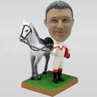 Jockey Bobblehead with Horse-11725