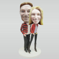 Personalized custom lovers bobblehead dolls