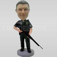 Swat Team Officer Bobblehead with Gun-11804