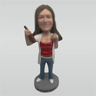 Custom female hold beer bobbleheads