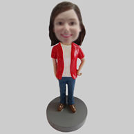 Custom red coat girl bobbleheads