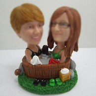 Personalized custom best friends Hot springs bobbleheads