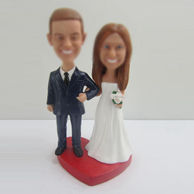 Personalized custom wedding cake bobblehead doll