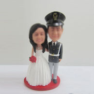Personalized custom wedding cake bobblehead dolls