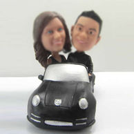 Personalized custom lovers  bobbleheads  in car