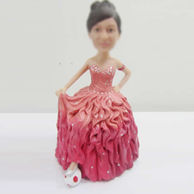 Personalized custom pink dress bobbleheads