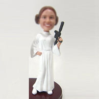 Personalized custom female with gun bobbleheads
