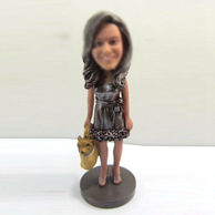 Personalized custom female with dog bobbleheads