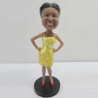 Personalized custom yellow dress bobbleheads