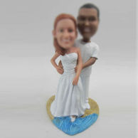 Personalized custom beach wedding cake bobbleheads
