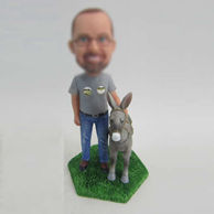 Personalized custom man and Donkey bobbleheads