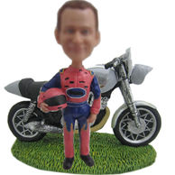 Personalized custom moto Racer bobbleheads