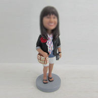 Personalized custom female with bag bobbleheads