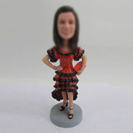 Personalized custom red dress bobble heads