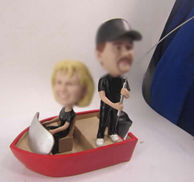 Personalized custom Couple Fishing bobbleheads
