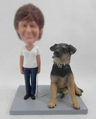 Personalized custom female bobblehead with dog