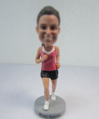Personalized custom female Runners bobble heads