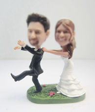 Personalized custom beach wedding cake bobble heads