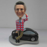 Personalized custom male with black car bobbleheads