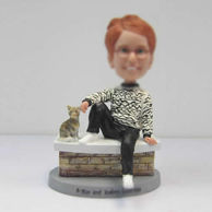 Personalized custom female and cat bobbleheads