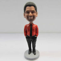 Personalized custom red shirt bobblehead