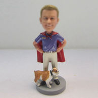 Personalized custom superman with dog bobbleheads