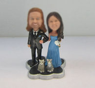 Personalized custom wedding cake bobbleheads