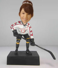 Personalized custom female Hockey bobbleheads