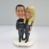 Personalized custom police couple wedding cake bobbleheads