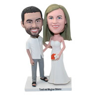 Custom personalized couple bobbleheads wedding cake topper