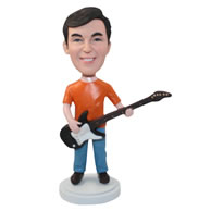 Personalized custom guitarist in a orange t-shirt bobbleheads