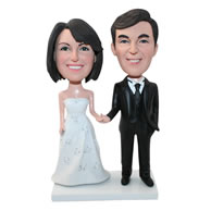 Custom beautiful bride and handsome bridegroom bobbleheads