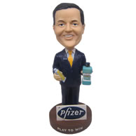 Personalized bobbleheads company bonus with company products