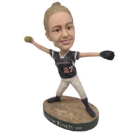 Personalized custom female baseball player pitching ball bobbleheads