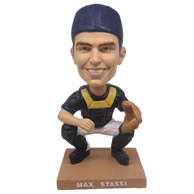 Personalized custom baseball player catching ball bobbleheads