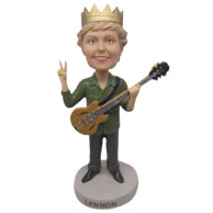 Personalized female guitarist playing guitar with crown bobbleheads