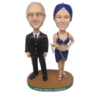 Personalized mayor with Miss Etiquette bobbleheads