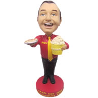 Personalized custom fast food restaurant waiter bobbleheads
