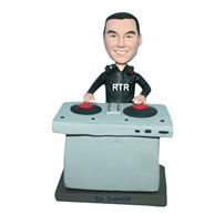 Male DJ player in black T-shirt bobblehead